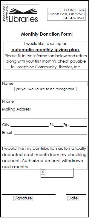 Make A Donation | Josephine Community Libraries